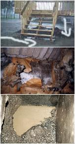 Dégât occasionné par une infiltration d'eau dans les fondations d'un bâtiment.