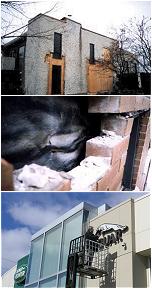Mur de brique endommagé ,l'expert vérifie la structure a la recherche de fissure.
