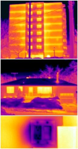 Photo de bâtiment prise avec une caméra thermique, les couleurs représente les température de surface.
